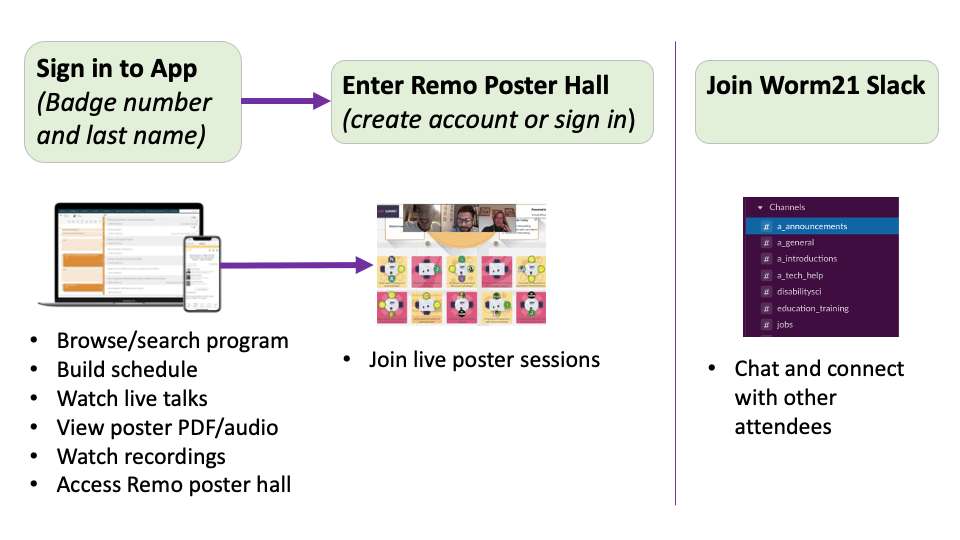 Sign in to App to access the Remo poster sessions, browse and search the program, build schedule, watch live talks, view poster PDF/audio, and watch recordings. Join Slack to chat with attendees.