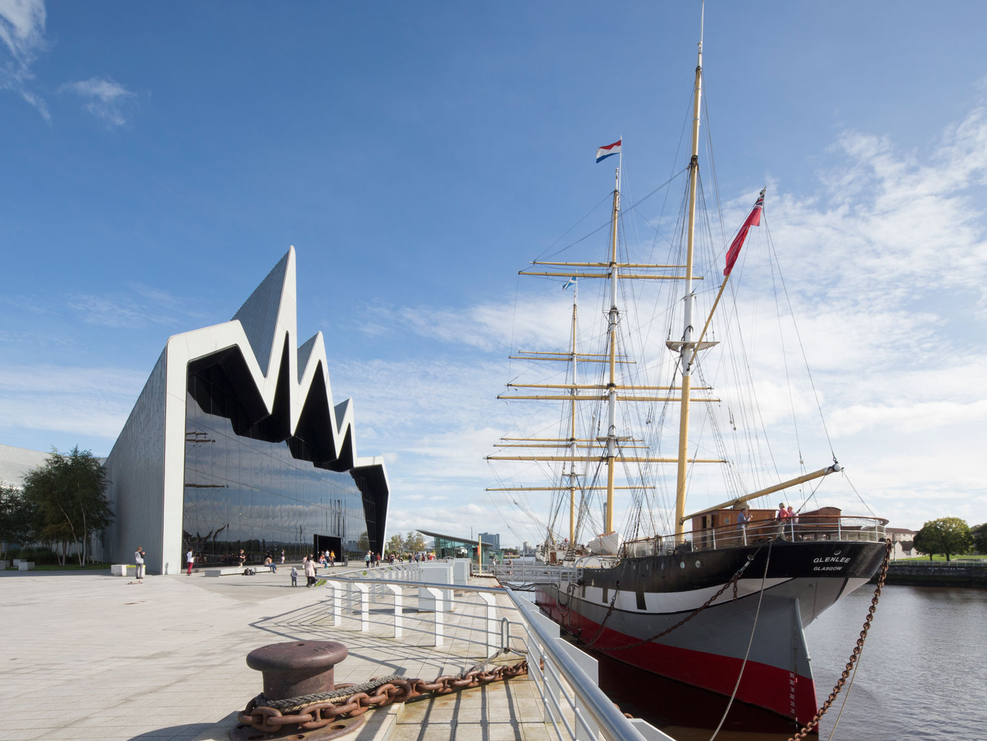 Riverside museum and tall ship in Glasgow