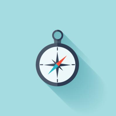 Illustration of dark gray compass on a light blue background