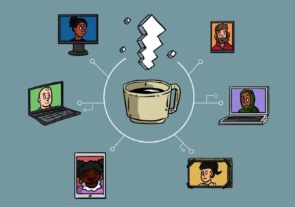 Illustration of a coffee cup with steam rising out of it. The cup is surrounded in a circle by six different illustrations of people on video calls. White block text at the top reads: Virtual Cafe Series